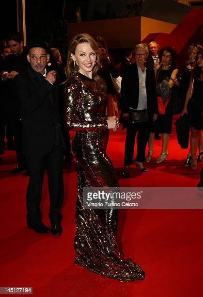 Actors Kylie Minogue and Denis Lavant attend the Holy Motors Premiere during the 65th Annual Cannes Film Festival at Palais des Festivals on May 23...