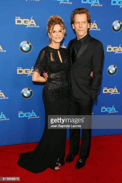 Actors Kyra Sedgwick and Kevin Bacon attend the 70th Annual Directors Guild Of America Awards at The Beverly Hilton Hotel on February 3 2018 in...