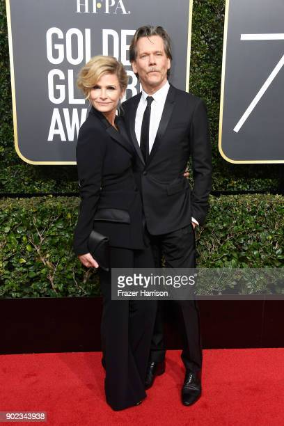 Actors Kyra Sedgwick and Kevin Bacon attend The 75th Annual Golden Globe Awards at The Beverly Hilton Hotel on January 7 2018 in Beverly Hills...