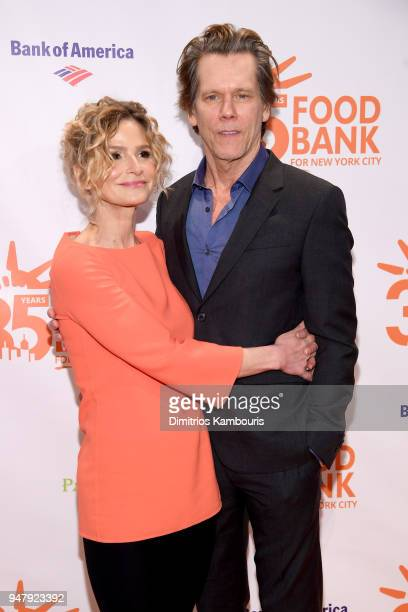 Actors Kyra Sedgwick and Kevin Bacon attend the Food Bank for New York City's Can Do Awards Dinner at Cipriani Wall Street on April 17 2018 in New...