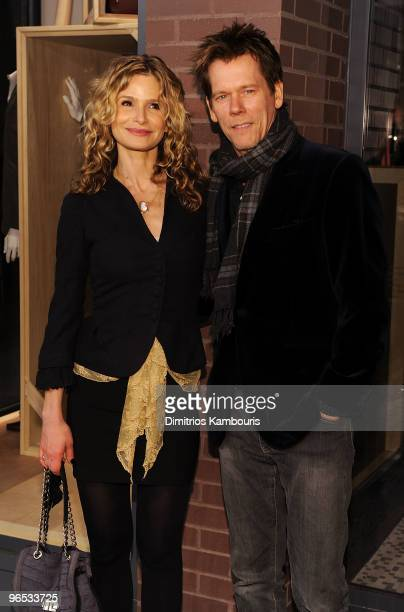 Actors Kyra Sedgwick and Kevin Bacon attend the opening of the first Hermes Men's Store on Madison Avenue on February 9, 2010 in New York City.