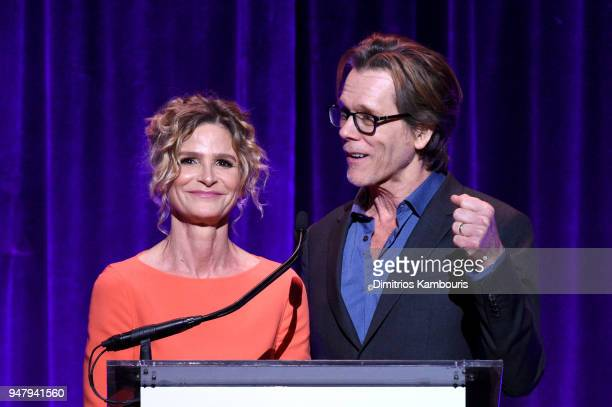 Actors Kyra Sedgwick and Kevin Bacon speak onstage during the Food Bank for New York City's Can Do Awards Dinner at Cipriani Wall Street on April 17...
