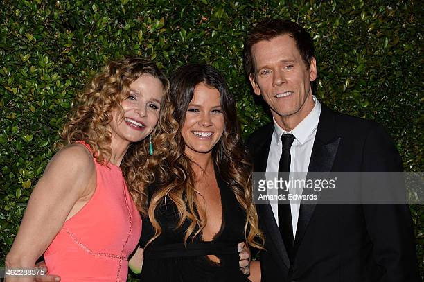Actors Kyra Sedgwick Sosie Bacon and Kevin Bacon arrive at the FOX/FX Golden Globe Party at the FOX Pavilion at the Golden Globes on January 12 2014...