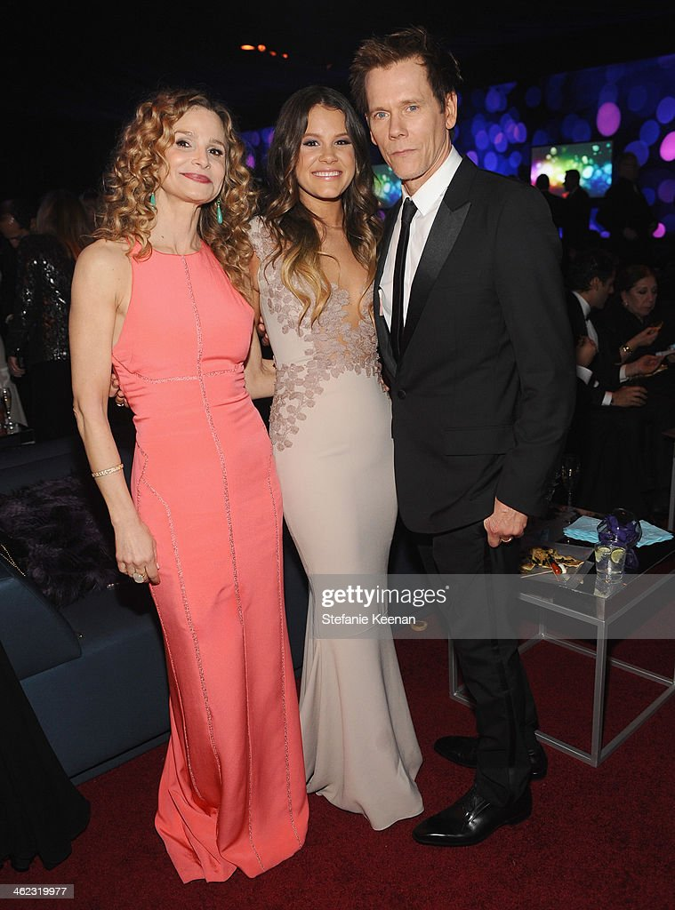 Actors Kyra Sedgwick, Sosie Bacon and Kevin Bacon attend the 2014 InStyle And Warner Bros. 71st Annual Golden Globe Awards Post-Party at The Beverly Hilton Hotel on January 12, 2014 in Beverly Hills, California.