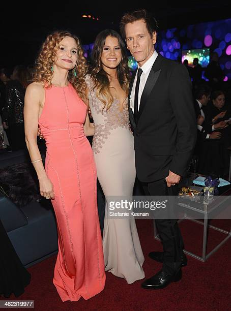 Actors Kyra Sedgwick, Sosie Bacon and Kevin Bacon attend the 2014 InStyle And Warner Bros. 71st Annual Golden Globe Awards Post-Party at The Beverly...