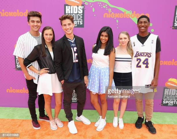 Actors Kyson Facer Alex Hook Carson Rowland Mohana Krishnan Nicole Alyse Nelson and Armani Barrett attend Nickelodeon Kids' Choice Sports Awards 2017...