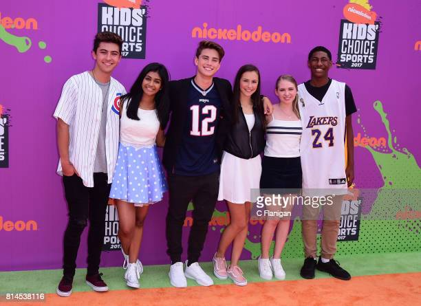 Actors Kyson Facer Mohana Krishnan Alex Hook Carson Rowland Nicole Alyse Nelson and Armani Barrett attend Nickelodeon Kids' Choice Sports Awards 2017...