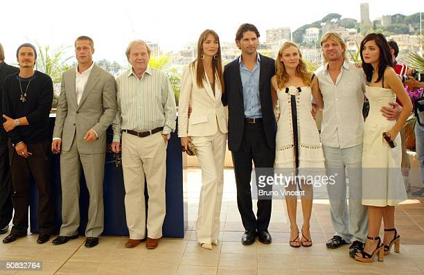 Actors L to R Orlando Bloom Brad Pitt Director Wolfgang Petersen Saffron Burrows Eric Bana Diane Kruger Sean Bean and Rose Byrne attend the Photocall...