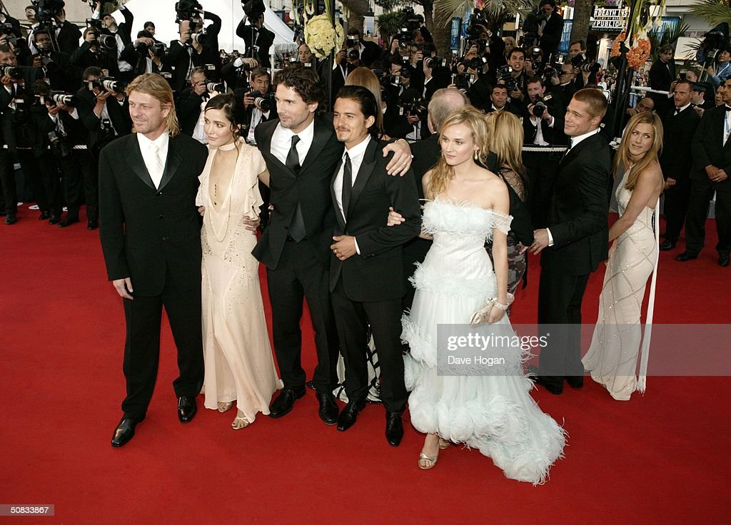 Actors L to R Sean Bean, Rose Byrne, Eric Bana, Orlando Bloom and Diane Kruger attend the World Premiere of the epic movie 'Troy' at Le Palais de Festival on May 13, 2004 in Cannes, France. Rose Byrne and Diane Kruger are wearing Chopard jewelry.