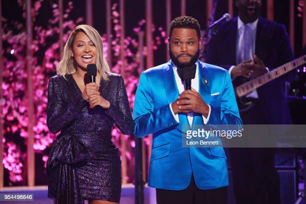 Actors La La Anthony and Anthony Anderson speaks onstage during VH1's 3rd Annual 'Dear Mama A Love Letter To Moms' Inside Show at The Theatre at Ace...