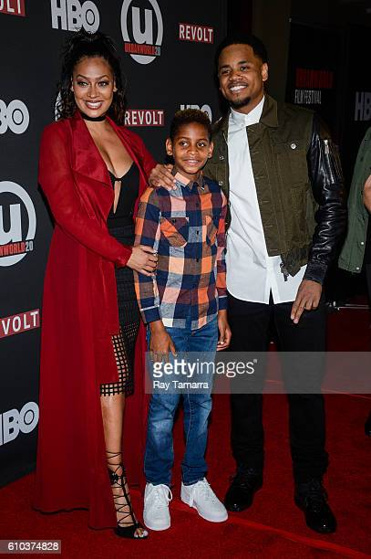 Actors La La Anthony Kiyan Carmelo Anthony and Tristan Wilds attend the 'Shots Fired' and 'The New Edition Story' screenings at the AMC Empire 25...
