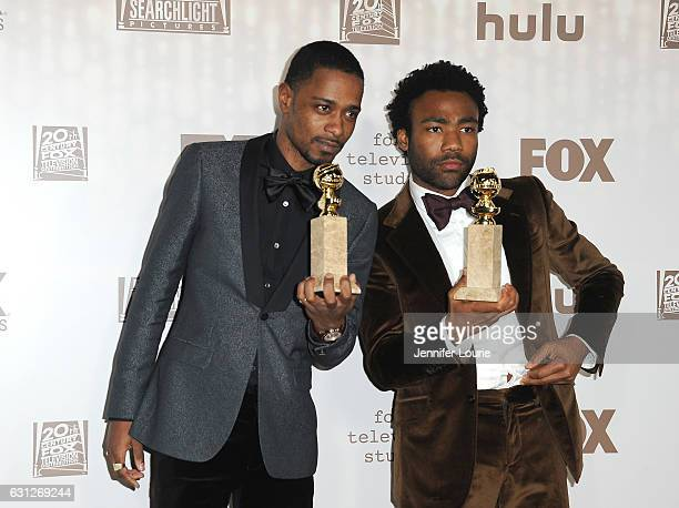 Actors Lakeith Stanfield and Donald Glover winners of Best Television Series Musical or Comedy for 'Atlanta' attend FOX and FX's 2017 Golden Globe...
