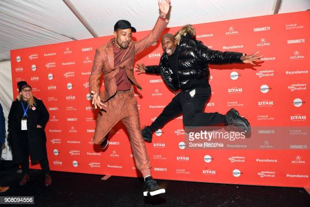 Actors Lakeith Stanfield and Terry Crews attend the 'Sorry To Bother You' Premiere during 2018 Sundance Film Festival at Park City Library on January...