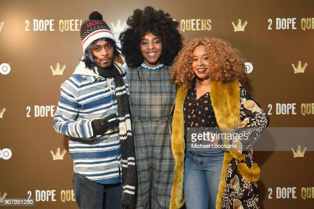 Actors Lakeith Stanfield Jessica Williams and Phoebe Robinson attend HBO's '2 Dope Queens' Winter Soiree during Sundance at Riverhorse On Main on...