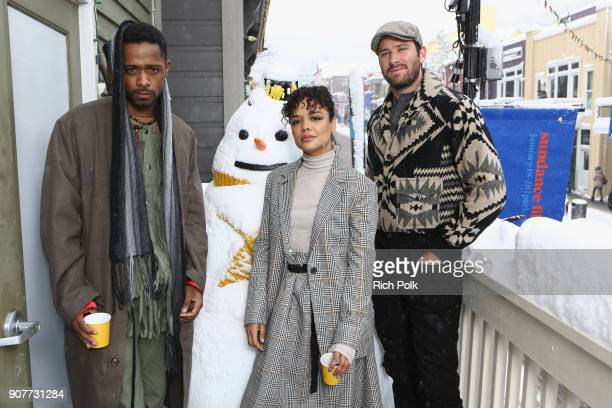 Actors Lakeith Stanfield Tessa Thompson and Armie Hammer of 'Sorry To Bother You' attend The IMDb Studio and The IMDb Show on Location at The...