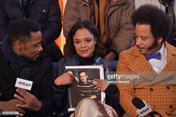 Actors Lakeith Stanfield Tessa Thompson and director Boots Riley of 'Sorry to Bother You' attends the Acura Studio at Sundance Film Festival 2018 on...