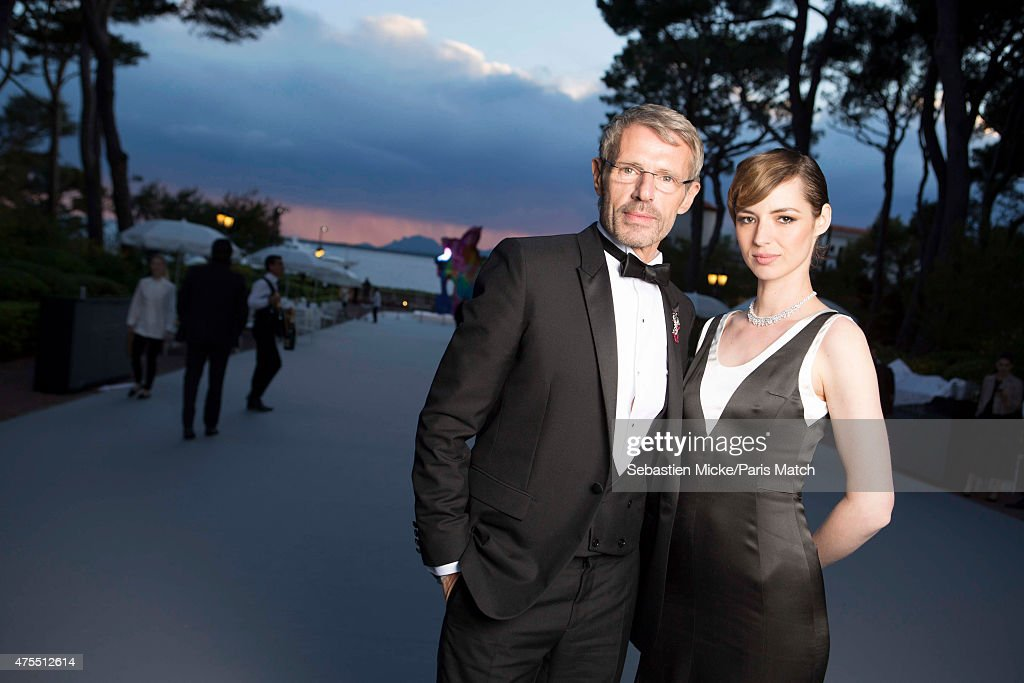 Actors Lambert Wilson and Louise Bourgoin wearing a Dior dress attend the 22nd Gala for AmFar Cinema Against AIDS. Photographed for Paris Match at the Cap-Eden-Roc hotel on May 21, 2015 in Cap d'Antibes, France.