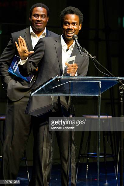 Actors Lamman Rucker and Chris Rock attend the 2nd Annual Triumph Awards at the Rose Theater Jazz at Lincoln Center on October 19 2011 in New York...