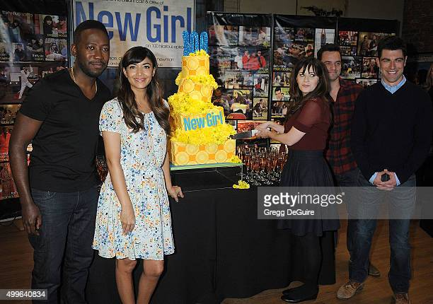 Actors Lamorne Morris Hannah Simone Zooey Deschanel Jake Johnson and Max Greenfield attend FOX's 'New Girl' 100th Episode CakeCutting at Fox Studio...
