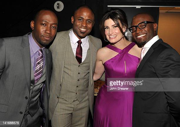 Actors Lamorne Morris Wayne Brady Idina Menzel and Taye Diggs attend the 20th Anniversary Alzheimer's Association A Night at Sardi's at The Beverly...