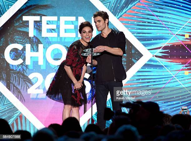 Actors Lana Parrilla and Paul Wesley speak onstage during Teen Choice Awards 2016 at The Forum on July 31 2016 in Inglewood California