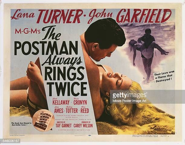 Actors Lana Turner and John Garfield appear on a poster for the MGM film 'The Postman Always Rings Twice' 1946