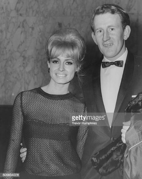 Actors Lance Percival and Suzy Kendall attending a gala charity performance of 'The Yellow RollsRoyce' at the Empire in Leicester Square London...