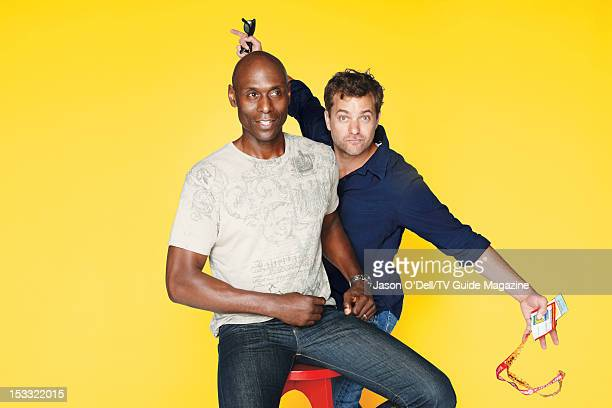 Actors Lance Reddick and Joshua Jackson are photographed for TV Guide Magazine on July 16 2012 on the TV Guide Magazine Yacht in San Diego California...