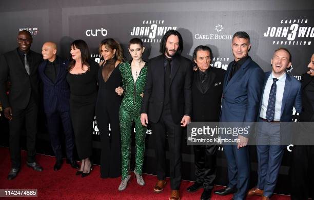 Actors Lance Reddick Mark Dacascos Anjelica Huston Halle Berry Asia Kate Dillon Keanu Reeves Ian McShane director Chad Stahelski and Robin Lord...