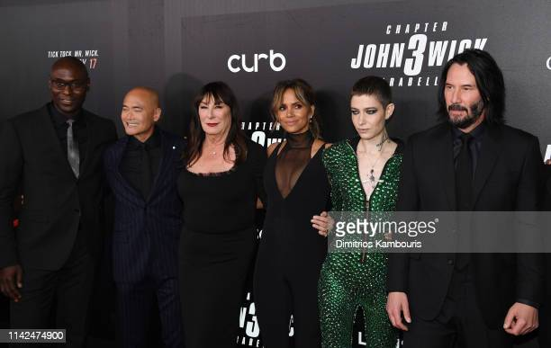 Actors Lance Reddick Mark Dacascos Anjelica Huston Halle Berry Asia Kate Dillon and Keanu Reeves attend the John Wick Chapter 3 world premiere at One...
