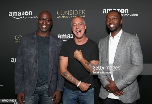Actors Lance Reddick Titus Welliver Jamie Hector attend the Amazon Original Series 'Bosch' Emmy FYC screening and panel at the Hollywood Athletic...