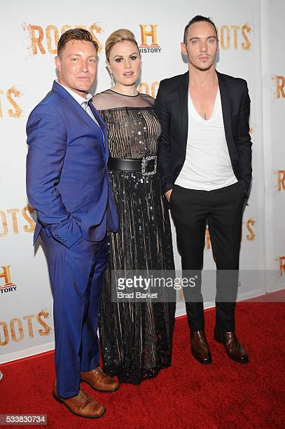 Actors Lane Garrison Anna Paquin and Jonathan Rhys Meyers attend the premiere screening of Night One of the four night epic event series Roots hosted...