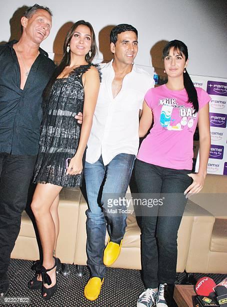 Actors Lara Dutta Akshay Kumar and Katrina Kaif at a meet the audience event for the film Blue in Mumbai on Sunday October 18 2009