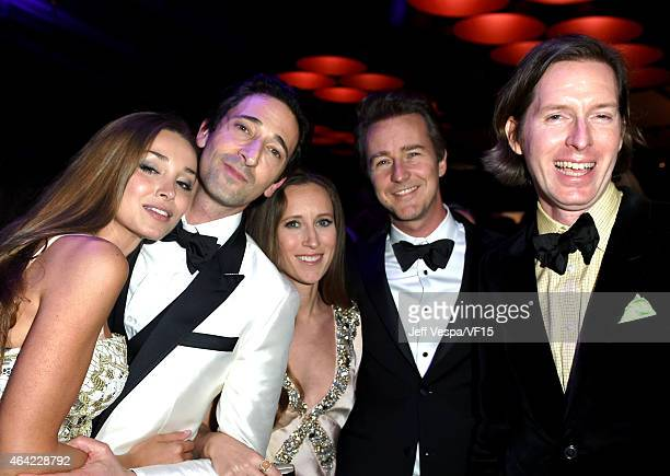 Actors Lara Leito Adrien Brody producer Shauna Robertson actor Edward Norton and director Wes Anderson attends the 2015 Vanity Fair Oscar Party...