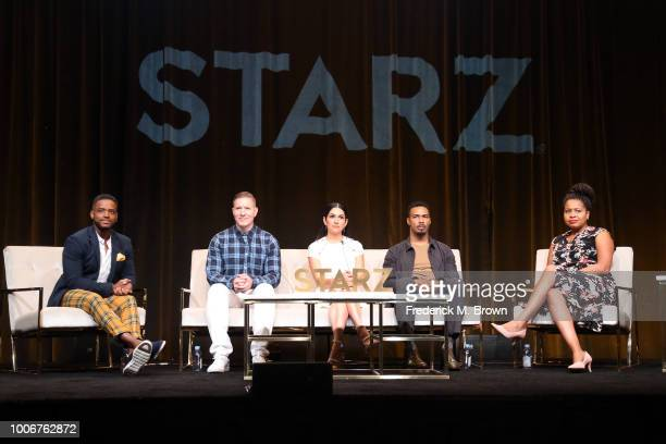 Actors Larenz Tate, Joseph Sikora, Lela Loren, Omari Hardwick, and Creator/Executive Producer, Showrunner Courtney A. Kemp of 'Power' speak onstage...