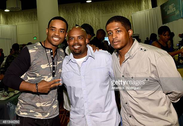 Actors Larenz Tate Lahmard J Tate and Larron Tate attend day 1 of the Radio Broadcast Center during the BET Awards '14 on June 27 2014 in Los Angeles...