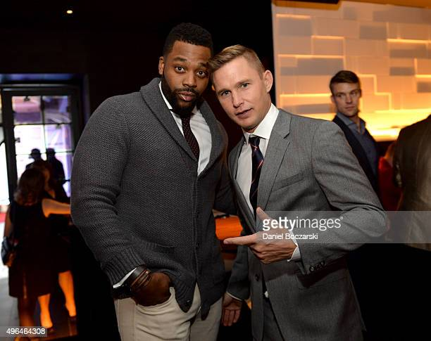 Actors Laroyce Hawkins and Brian Geraghty attend a premiere party for NBC's 'Chicago Fire', 'Chicago P.D.' and 'Chicago Med' at STK Chicago on...