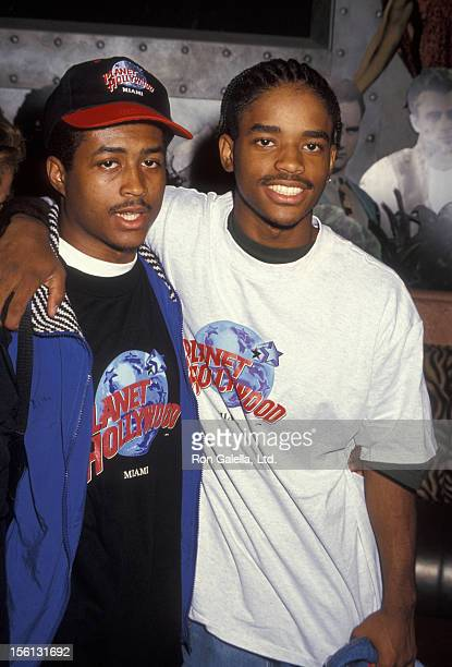 Actors Larron Tate and Larenz Tate attending the press conference for 'AntiViolence Youth Concert' on June 3 1994 at Planet Hollywood in Miami Florida