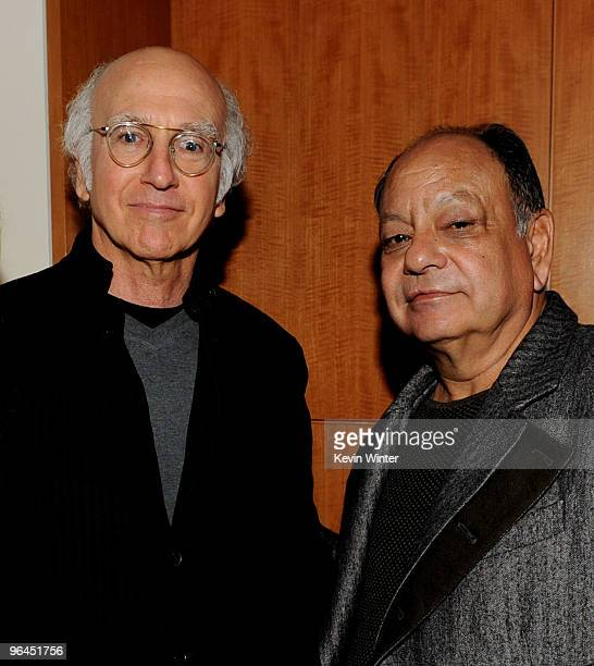 Actors Larry David and Cheech Marin pose backstage at Help Haiti with George Lopez Friends at LA Live's Nokia Theater on February 4 2010 in Los...