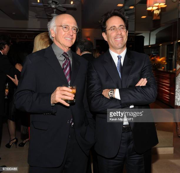 Actors Larry David and Jerry Seinfeld attend the 2010 Vanity Fair Oscar Party hosted by Graydon Carter at the Sunset Tower Hotel on March 7, 2010 in...