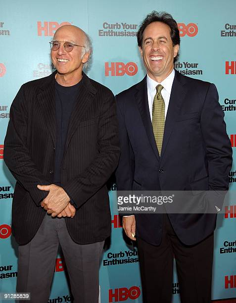 Actors Larry David and Jerry Seinfeld attend the Curb Your Enthusiasm Season 7 New York screening at the Time Warner Screening Room on September 30...