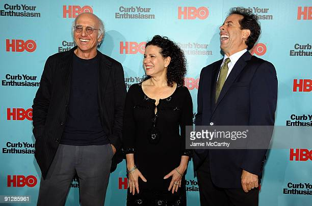 Actors Larry David Susie Essman and Jerry Seinfeld attend the Curb Your Enthusiasm Season 7 New York screening at the Time Warner Screening Room on...