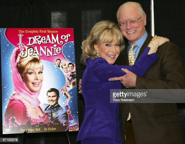 Actors Larry Hagman and Barbara Eden attend the I Dream of Jeannie DVD Launch at Barnes Noble Bookstore on March 15 2006 in New York City