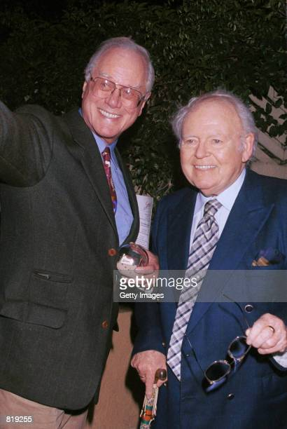 Actors Larry Hagman and Carroll O''Connor attend the Spago closing party hosted by celebrity chef Wolfgang Puck and his wife Barbara Lazaroff March...