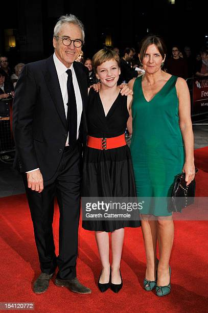 Actors Larry Lamb Eloise Laurence and Clare Burt attend the premiere of 'Broken' during the 56th BFI London Film Festival at Odeon West End on...