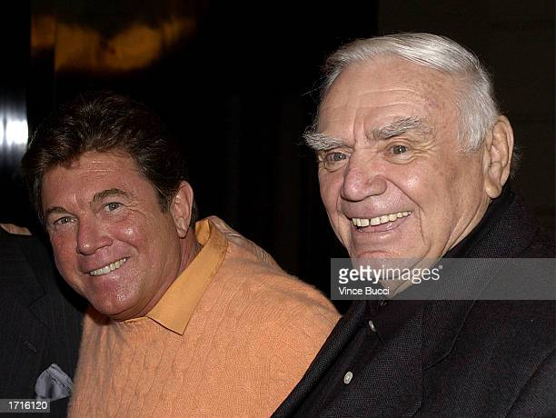 Actors Larry Manetti and Ernest Borgnine attend the premiere of the TNT television movie Monte Walsh on January 8 2003 at the Warner Bros Studios in...