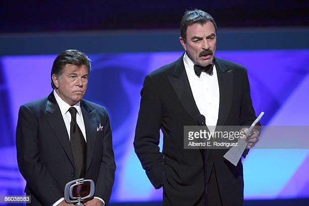Actors Larry Manetti and Tom Selleck accept the Hero Award for Magnum PI onstage at the 7th Annual TV Land Awards held at Gibson Amphitheatre on...