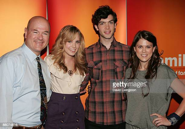 Actors Larry Miller Meaghan Jette Martin Ethan Peck and Lindsey Shaw from the television show 10 Things I Hate About You attend the 2009 Disney ABC...