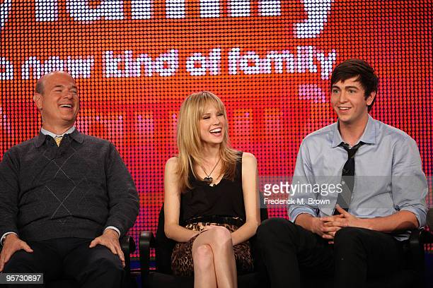 Actors Larry Miller Meaghan Martin and Nicholas Braun speak onstage at the ABC '10 Things I Hate About You' QA portion of the 2010 Winter TCA Tour...