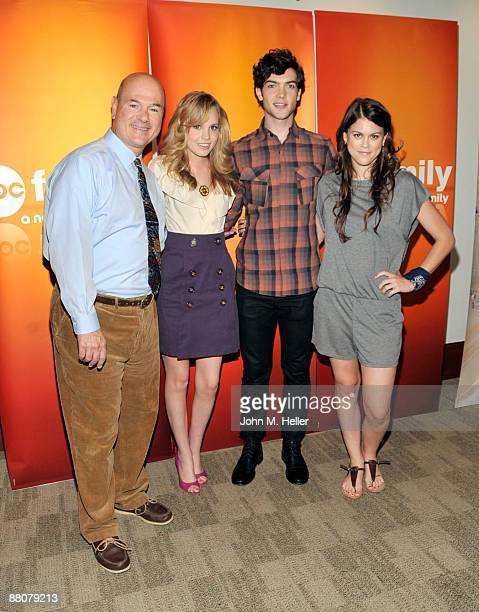 Actors Larry Miller Meaghan MartinEthan Peck and Lindsey Shaw from the television show '10 Things I Hate About You' attend the 2009 Disney and ABC TV...